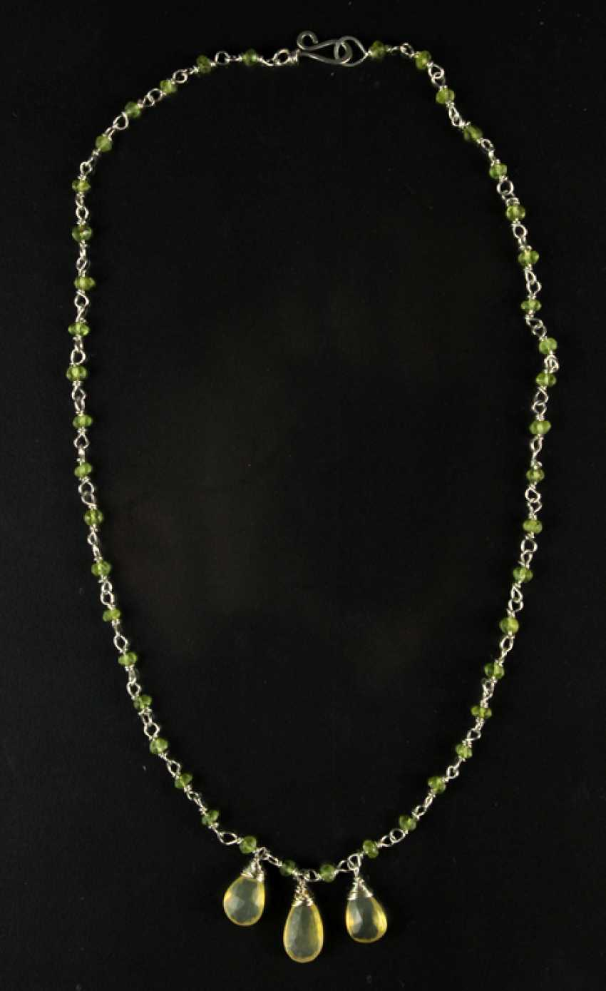 Hand Work-Chain, Peridot, Fire Opal, Silver 925. - photo 1