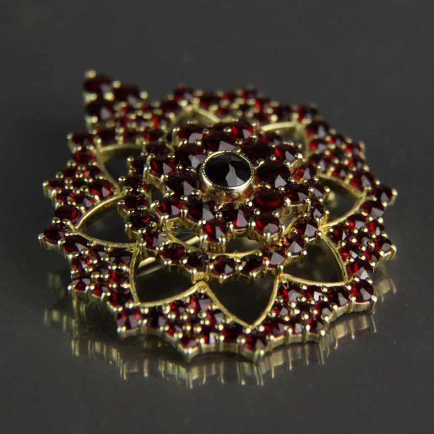 Garnet pendants / garnet brooch, silver plated - photo 1