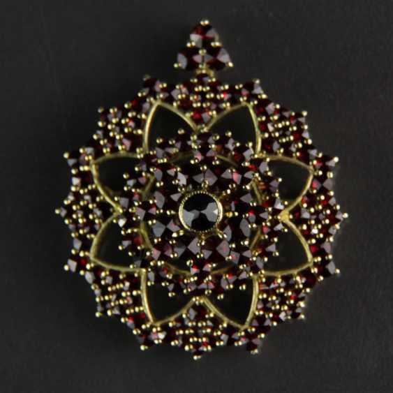 Garnet pendants / garnet brooch, silver plated - photo 2