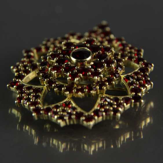 Garnet pendants / garnet brooch, silver plated - photo 3