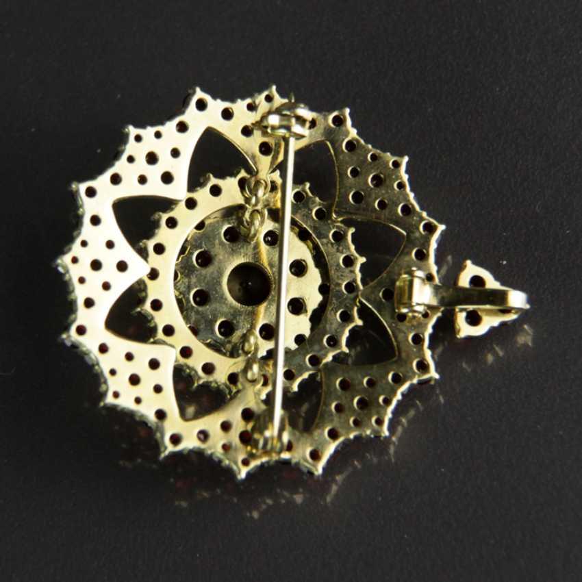 Garnet pendants / garnet brooch, silver plated - photo 4