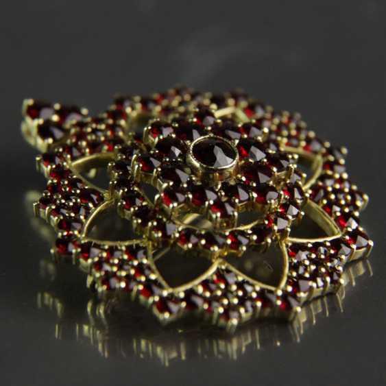 Garnet pendants / garnet brooch, silver plated - photo 5