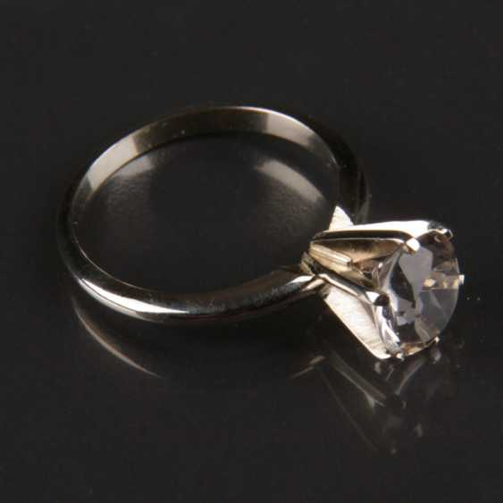 Ladies ring with rhinestone / sterling silver ring, white gold 585 - photo 3