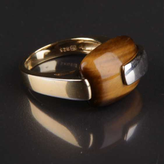 Designer Ring, silver with a large tiger's eye - photo 1