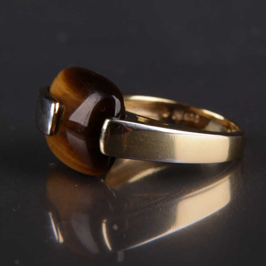 Designer Ring, silver with a large tiger's eye - photo 3