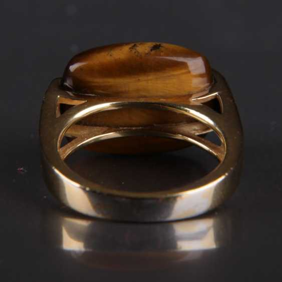 Designer Ring, silver with a large tiger's eye - photo 4