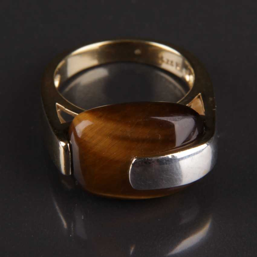 Designer Ring, silver with a large tiger's eye - photo 5