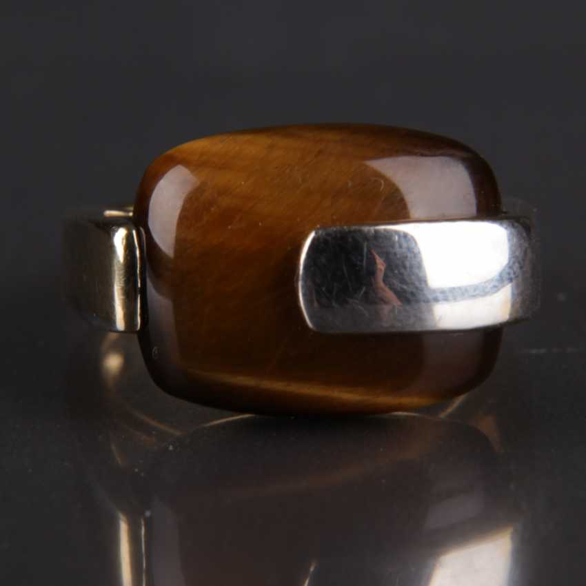 Designer Ring, silver with a large tiger's eye - photo 6