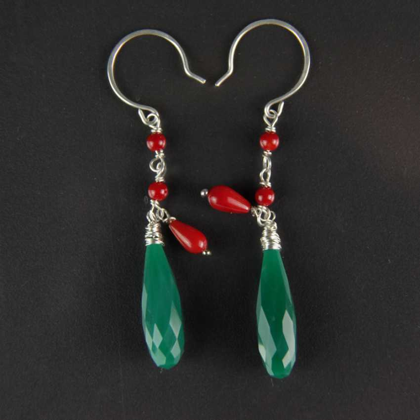 Earrings, green agate and coral, silver 925 - photo 1