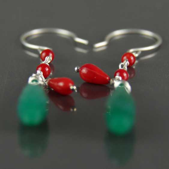 Earrings, green agate and coral, silver 925 - photo 2