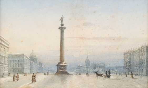 RUSSIAN WATERCOLORIST Active in the 19th century. Century view of the Palace square with the Alexander column in St. Petersburg - photo 1