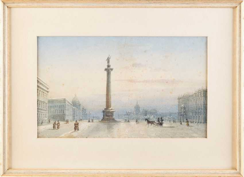 RUSSIAN WATERCOLORIST Active in the 19th century. Century view of the Palace square with the Alexander column in St. Petersburg - photo 2