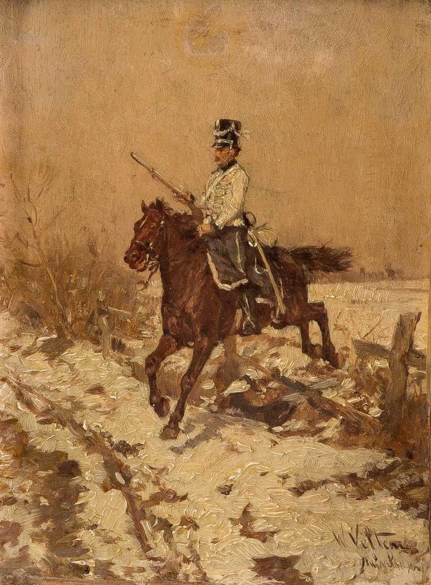 WILHELM VELTEN in 1847, St. Petersburg - 1929 Munich, trooper in snowy landscape - photo 1