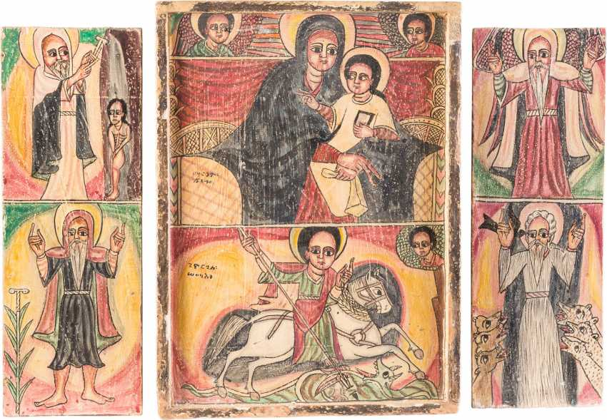LARGE COPTIC TRIPTYCH WITH THE MOTHER OF GOD AND HOLY - photo 1
