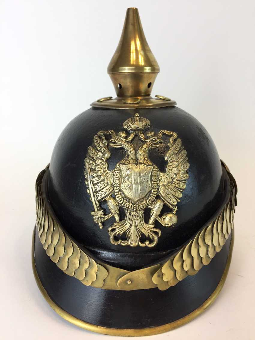 Austria-Hungary / K. u. K Austro-Hungarian Empire: spiked helmet / leather helmet for teams to 1890, very good. - photo 1