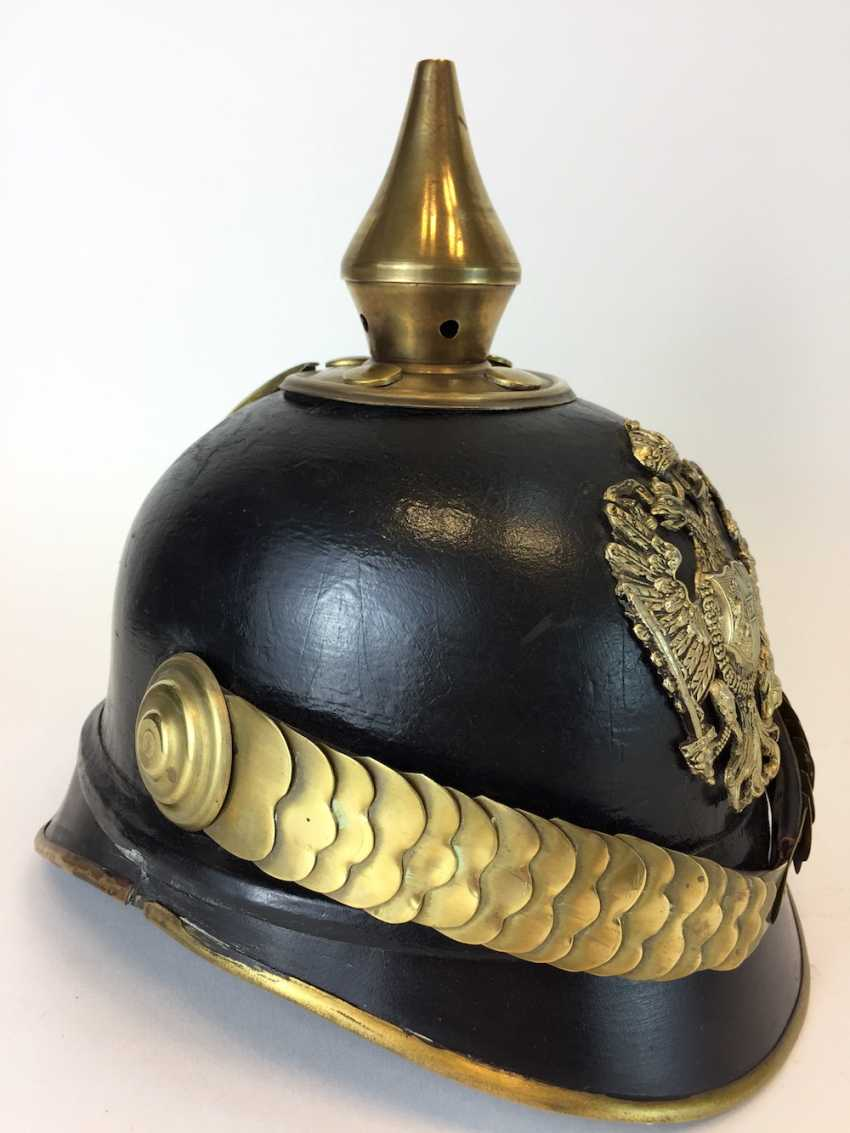 Austria-Hungary / K. u. K Austro-Hungarian Empire: spiked helmet / leather helmet for teams to 1890, very good. - photo 2