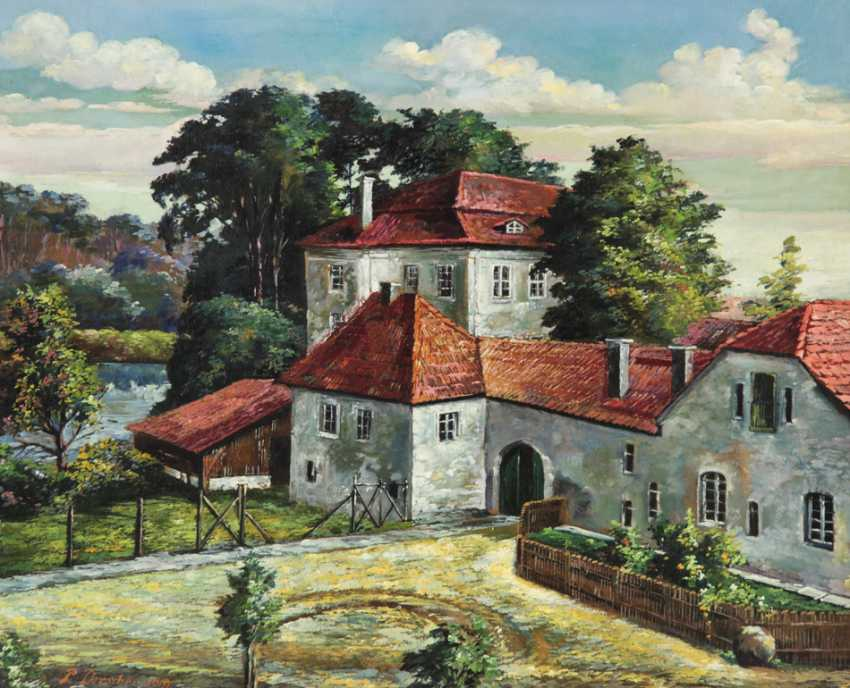 Paul Drescher (brother of Arno Drescher): castle Grunewald / the hunting castle of Frederick the Great, Oil on pasteboard - photo 1
