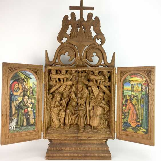 Herrmann Lohrisch: house altar with two wings, painted, Hand carved, oak wood, 1946, one of a kind, very good. - photo 1