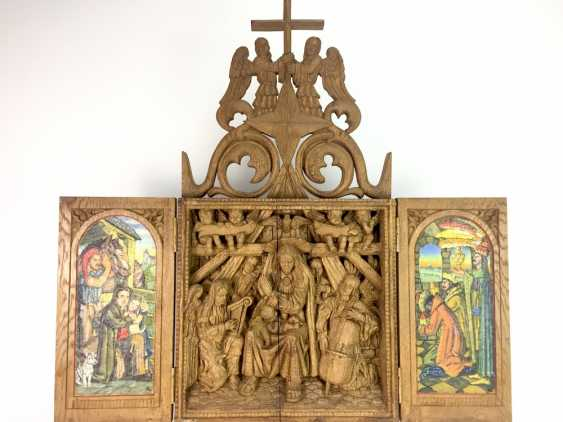 Herrmann Lohrisch: house altar with two wings, painted, Hand carved, oak wood, 1946, one of a kind, very good. - photo 2