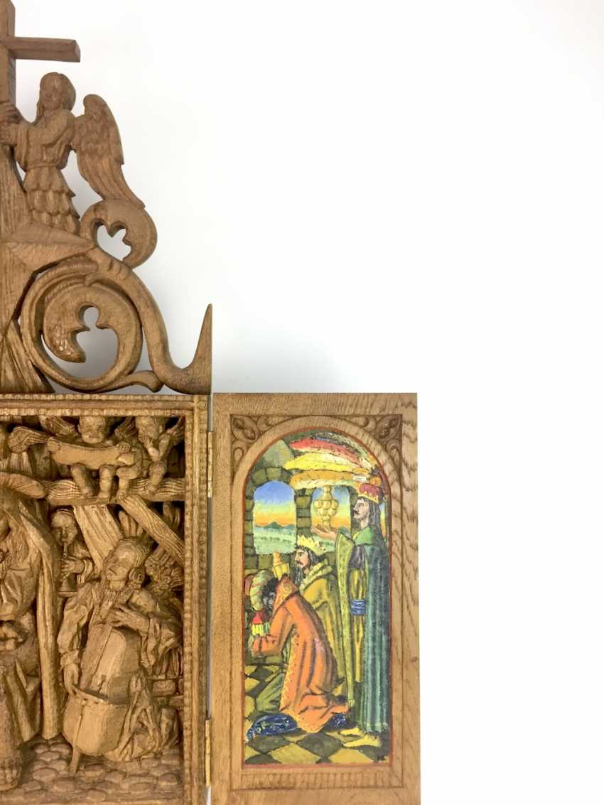 Herrmann Lohrisch: house altar with two wings, painted, Hand carved, oak wood, 1946, one of a kind, very good. - photo 4