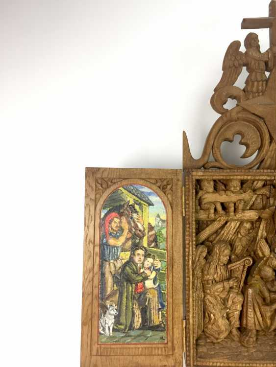 Herrmann Lohrisch: house altar with two wings, painted, Hand carved, oak wood, 1946, one of a kind, very good. - photo 5