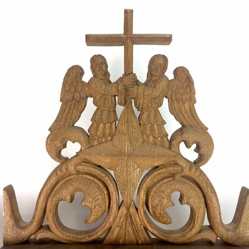 Herrmann Lohrisch: house altar with two wings, painted, Hand carved, oak wood, 1946, one of a kind, very good. - photo 7