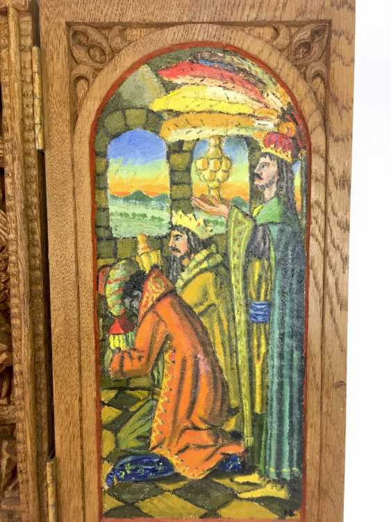 Herrmann Lohrisch: house altar with two wings, painted, Hand carved, oak wood, 1946, one of a kind, very good. - photo 9