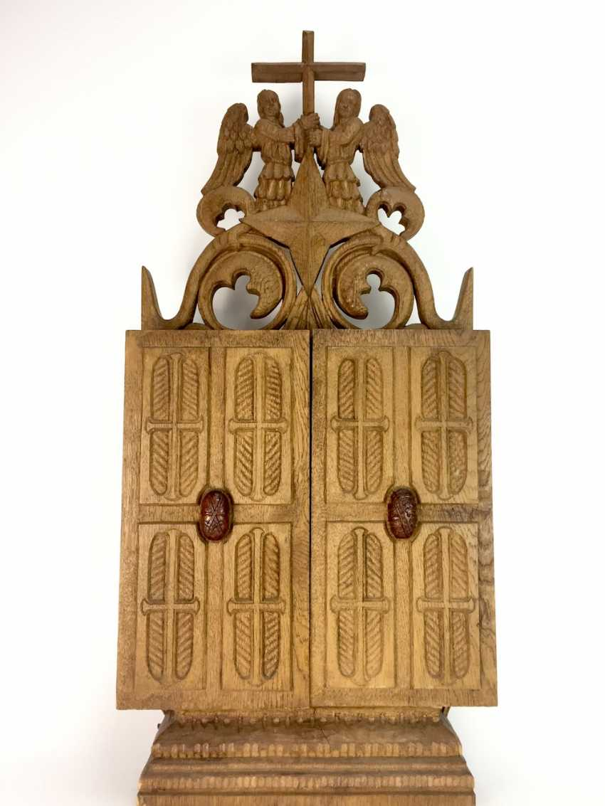 Herrmann Lohrisch: house altar with two wings, painted, Hand carved, oak wood, 1946, one of a kind, very good. - photo 10