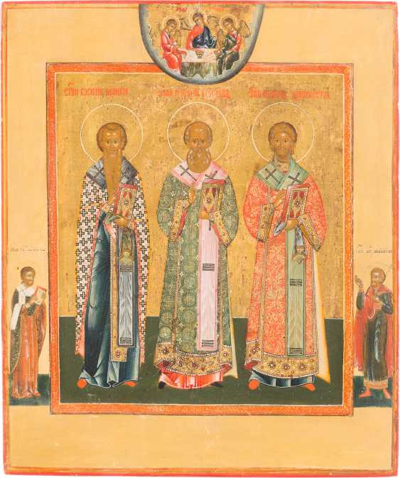 A FINE ICON OF THE SYNAXIS OF THE THREE HOLY HIERARCHS - photo 1