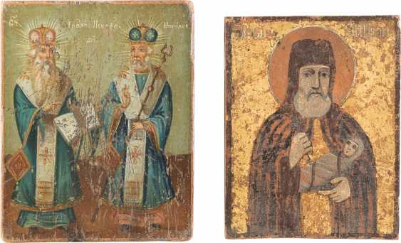 TWO SMALL ICONS WITH THE EPISCOPAL SAINTS, AND OF THE HOLY STYLIANOS - photo 1