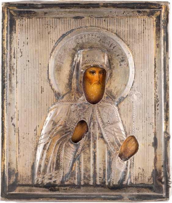 VERY INTERESTING MINIATURE ICON WITH SAINT JOHN OF TOBOLSK WITH SILVER-OKLAD - A GIFT FROM RASPUTIN'S - photo 1