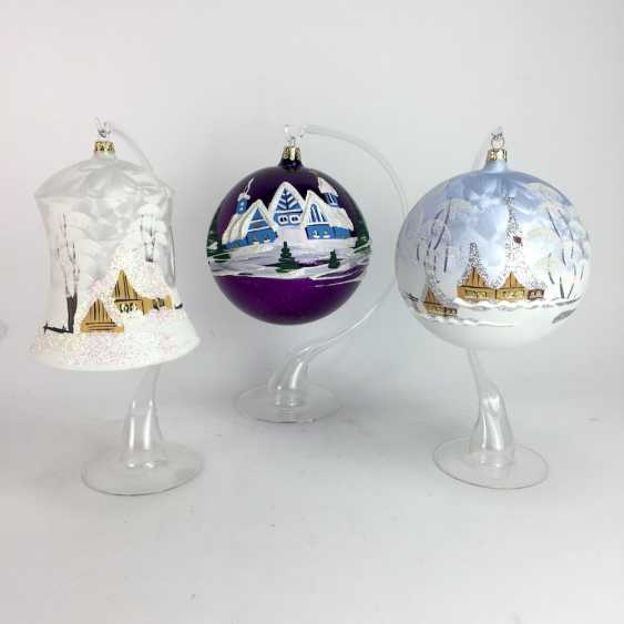Three large Christmas glass balls / bell, mouth blown, Hand painted, with glass stand also mouth-blown. - photo 1