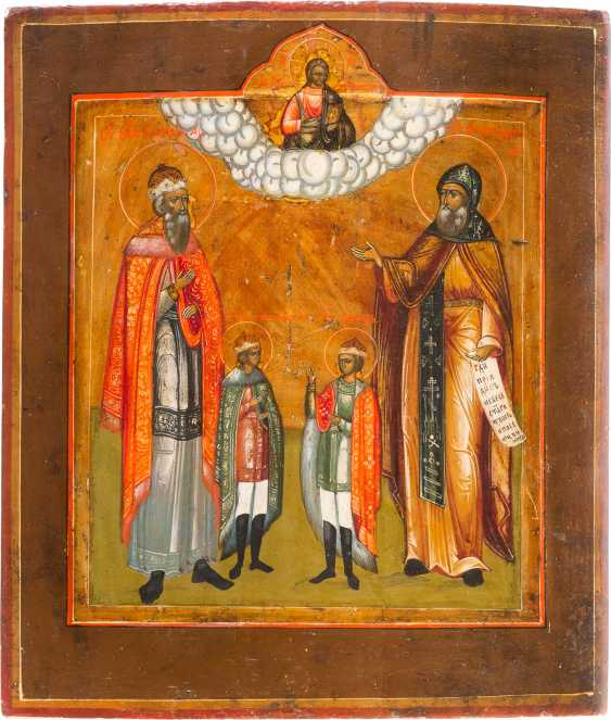 ICON WITH SAINTS FEODOR AND HIS SONS CONSTANTINE AND DAVID - photo 1