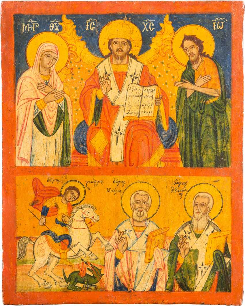 TWO FIELDS ICON WITH THE DEESIS AND SELECTED SAINTS - photo 1