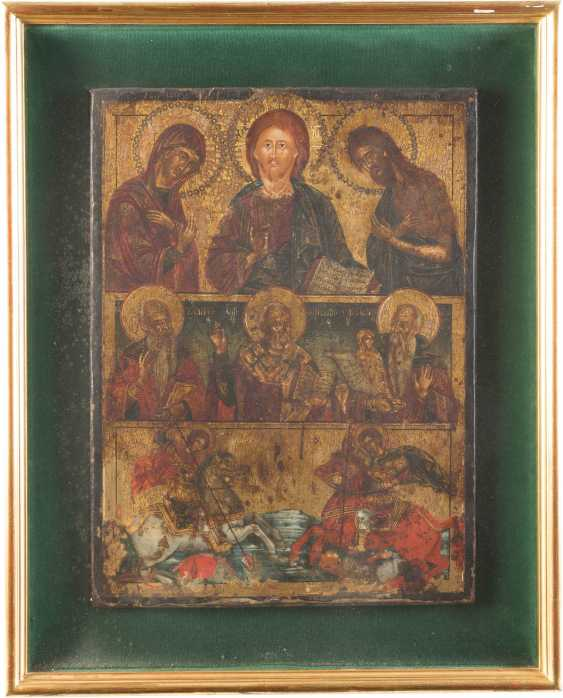 LARGE MORE FIELDS ICON WITH THE DEESIS, THE EQUESTRIAN SAINTS GEORGE AND DEMETRIUS AND SELECTED SAINTS - photo 1