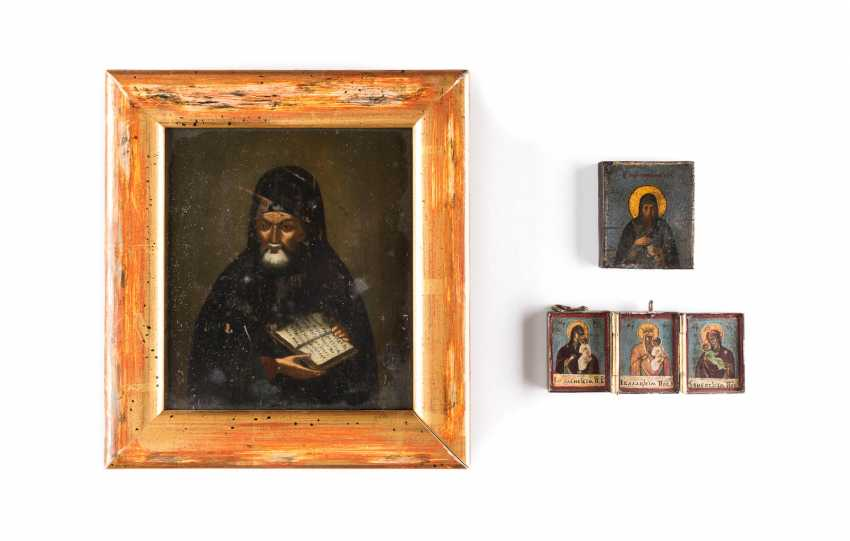 TWO SMALL ICONS WITH THE HOLY METROPOLITANS AND TO THE TRIPTYCH WITH GRACE, IMAGES OF THE MOTHER OF GOD - photo 1