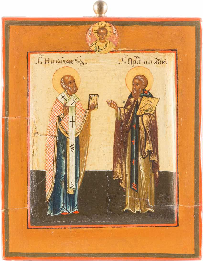 MINIATURE ICON WITH SAINT NICHOLAS OF MYRA AND EPHATIJ WITH THE MOTHER OF GOD ICON - photo 1