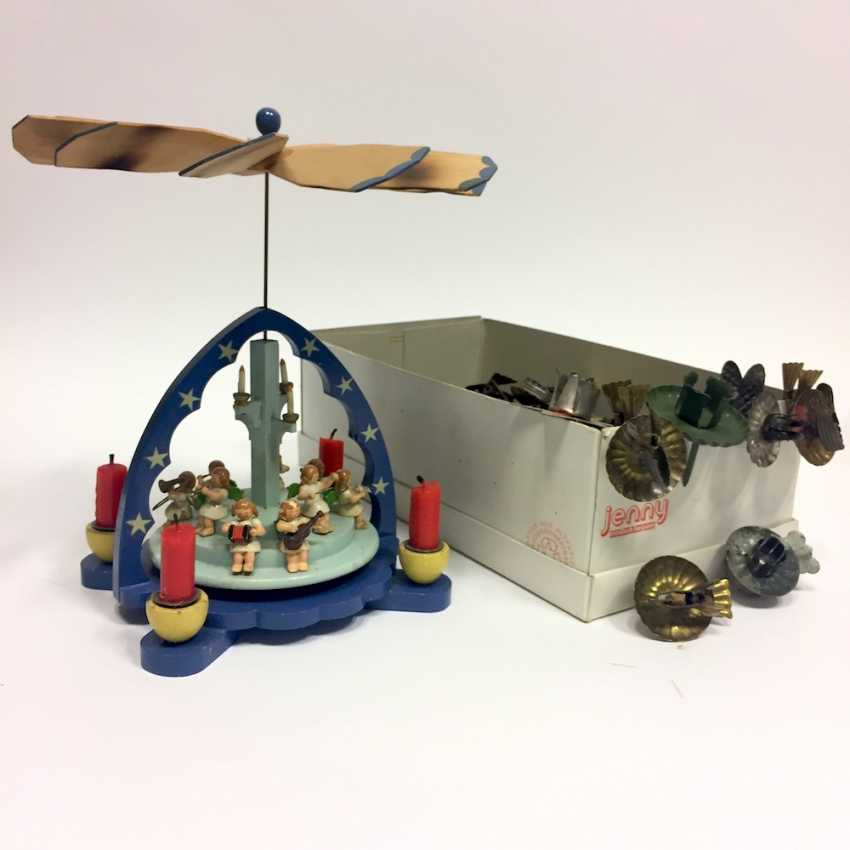 Christmas pyramid: wood color nine angels caught on steps, tools, and four grommets. - photo 1