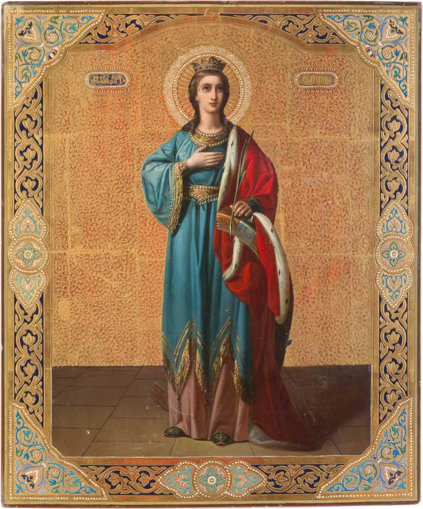 LARGE-SIZED ICON OF THE HOLY MARTYR CATHERINE - photo 1