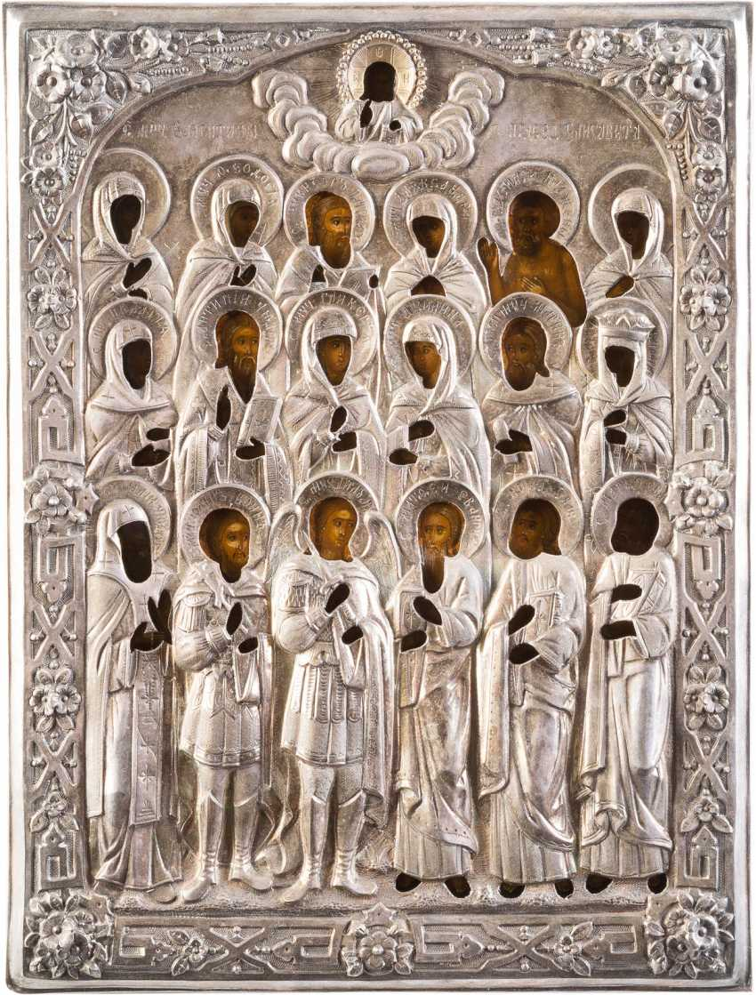 ICON WITH THE GATHERING OF SELECTED SAINTS WITH A SILVER OKLAD - photo 1