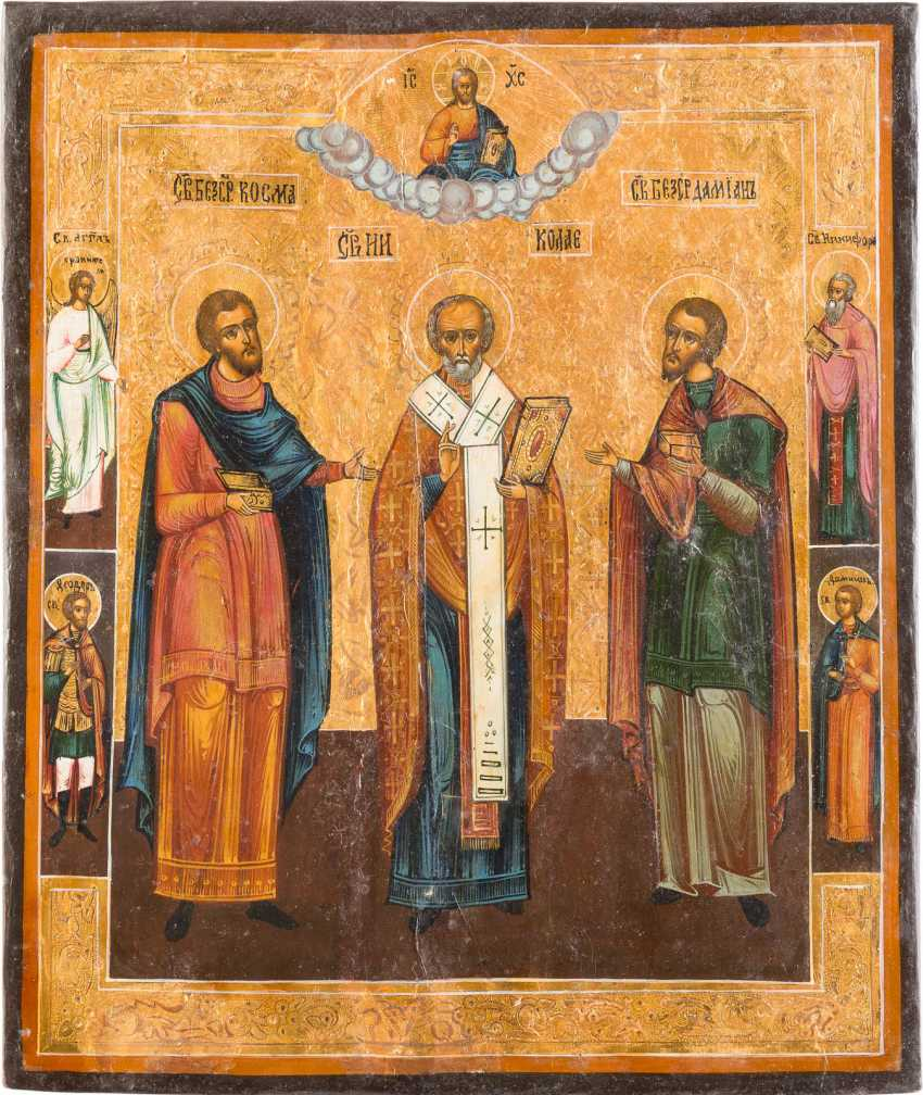 ICON WITH SAINTS COSMAS, DAMIAN AND NICHOLAS OF MYRA - photo 1