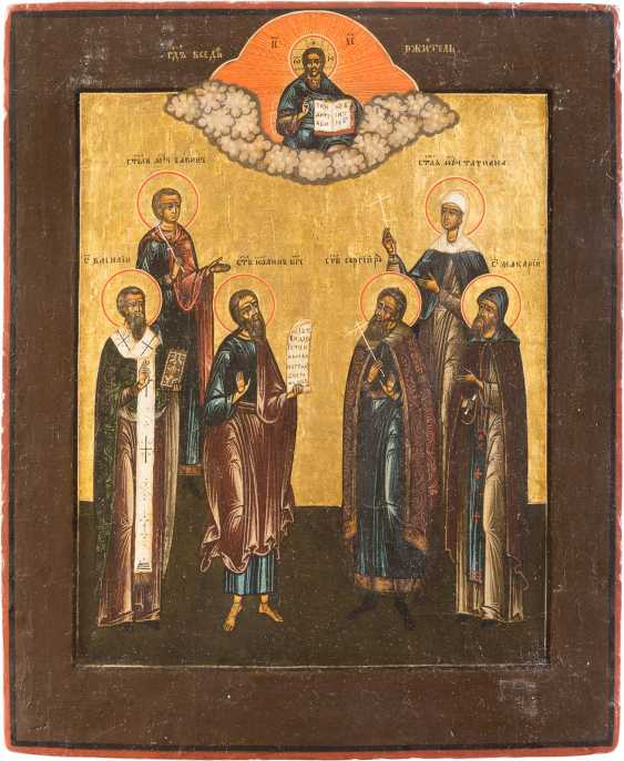 ICON WITH SIX FAMILY SAINTS, AND CHRIST PANTOCRATOR - photo 1