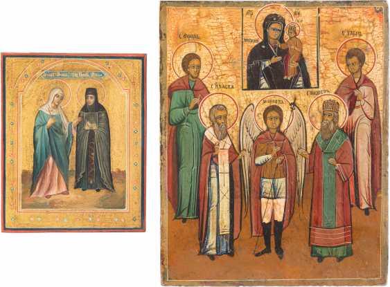 A SMALL ICON WITH SAINTS ANNA AND THE ICON OF THE MOTHER OF GOD, THE ARCHANGEL MICHAEL AND FOUR SAINTS - photo 1