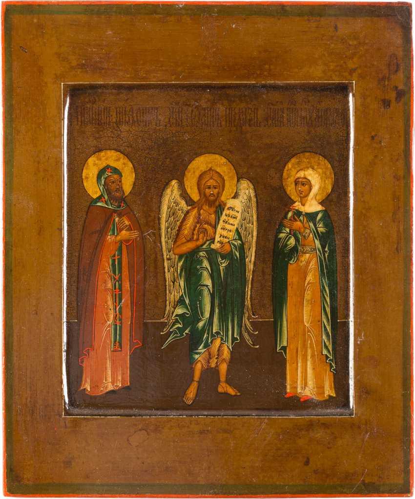 PATRONAL ICON OF THE SAINT NIPHONT, JOHN THE PRECURSOR, AND AGATHIA - photo 1