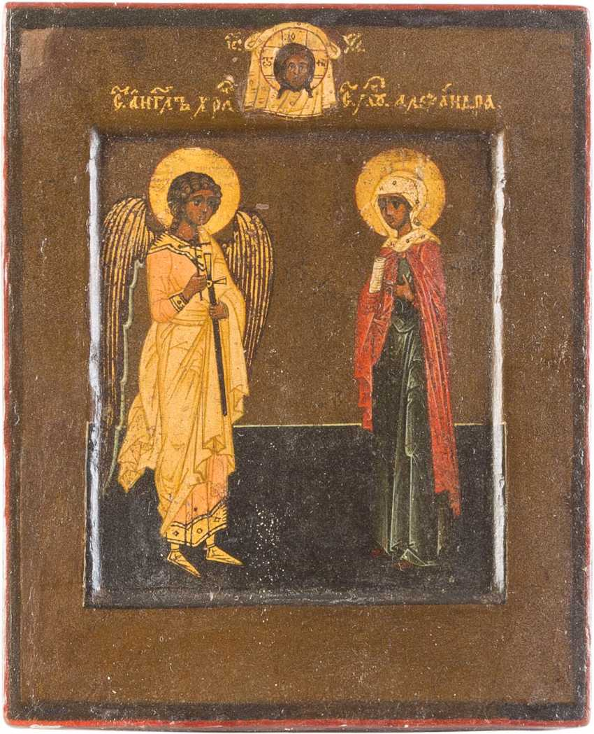 SMALL ICON OF THE GUARDIAN ANGEL AND THE SAINTS, ALEXANDRA - photo 1