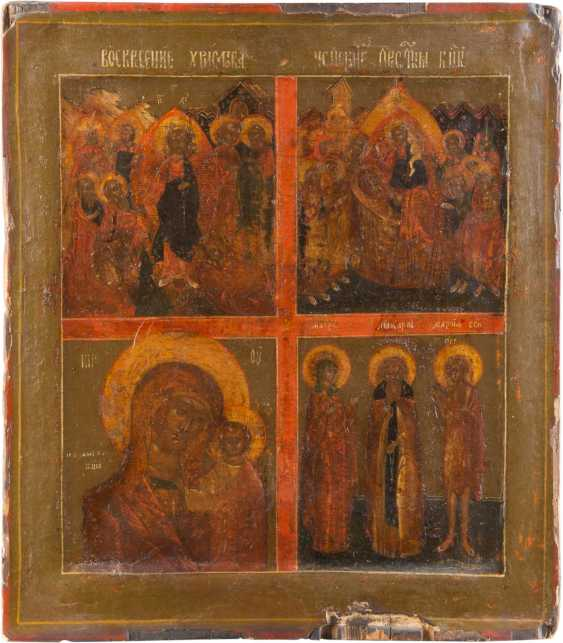 FOUR FIELDS ICON WITH THE ANASTASIS, THE DORMITION OF THE MOTHER OF GOD OF KAZAN AND THREE SAINTS - photo 1