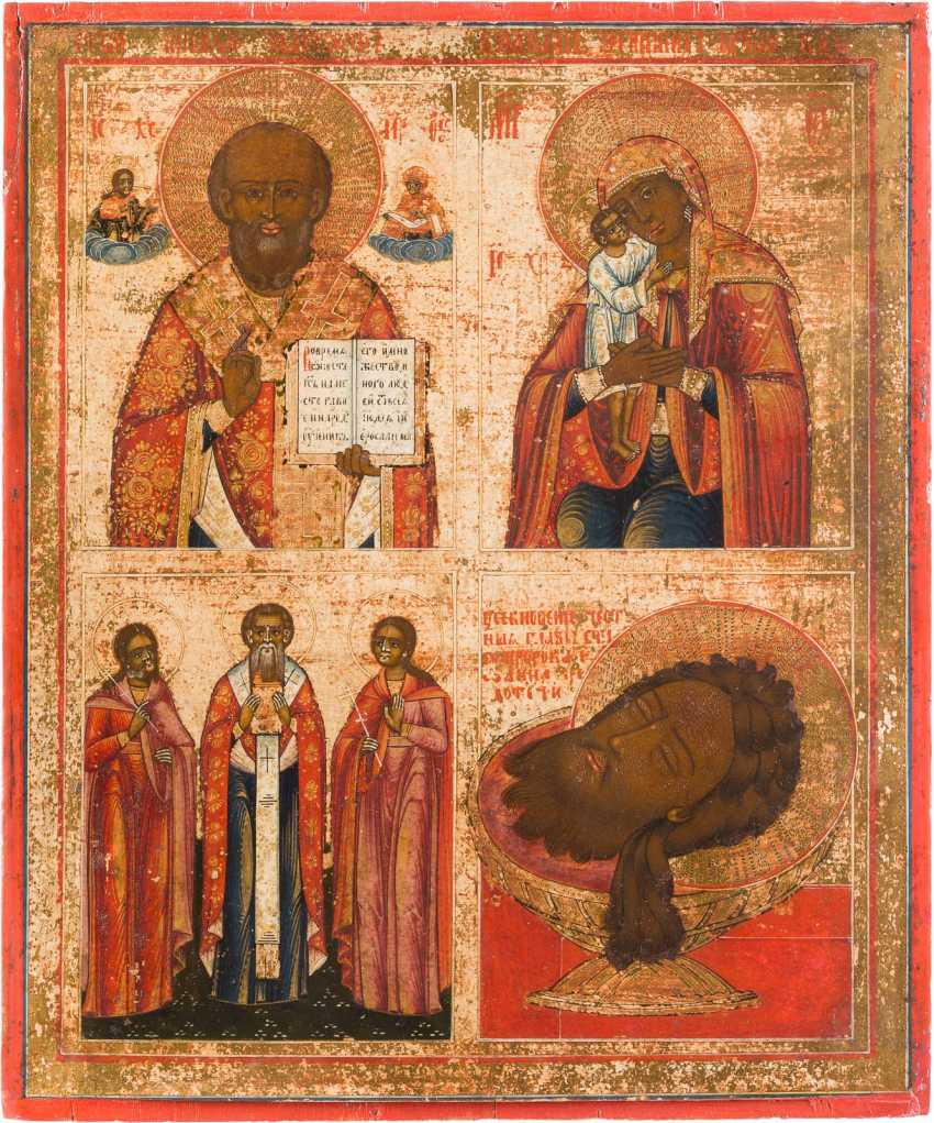 LARGE-FORMAT, FOUR FIELDS ICON WITH SAINTS, THE MOTHER OF GOD 'FINDING THE LOST' AND THE HEAD OF JOHN THE BAPTIST - photo 1