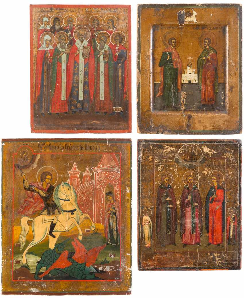 FOUR SMALL-SIZED ICONS WITH SELECTED SAINTS, INCLUDING SAINT GEORGE AND KOSMAS AND DAMIAN - photo 1