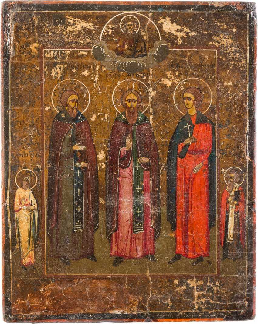 FOUR SMALL-SIZED ICONS WITH SELECTED SAINTS, INCLUDING SAINT GEORGE AND KOSMAS AND DAMIAN - photo 3