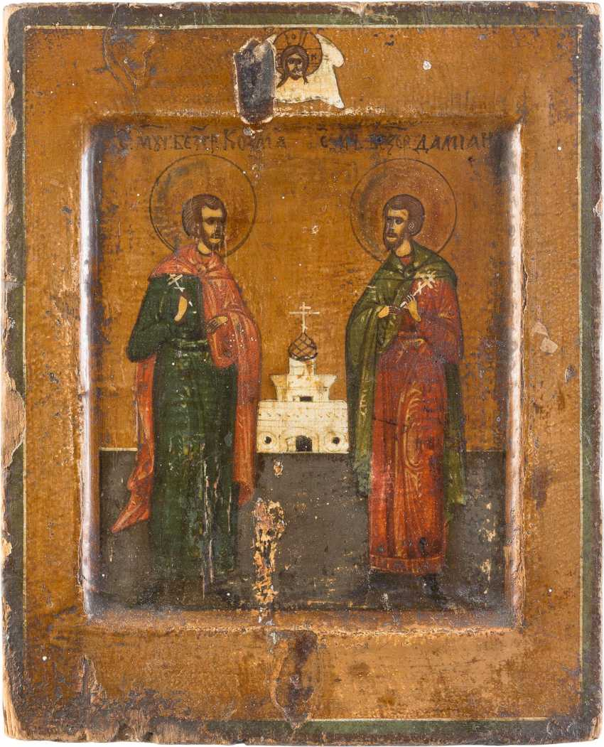 FOUR SMALL-SIZED ICONS WITH SELECTED SAINTS, INCLUDING SAINT GEORGE AND KOSMAS AND DAMIAN - photo 5